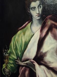 Detalle de San Juan Evangelista de El Greco.
