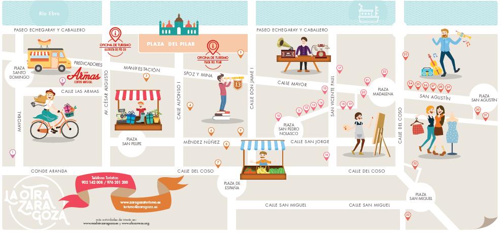 Mapa tiendas bonitas Zaragoza