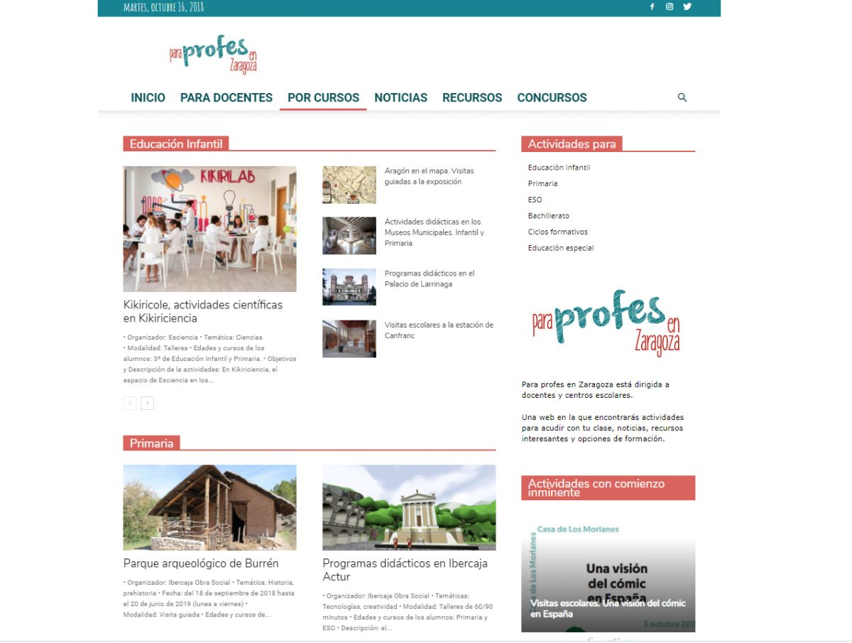 Para Profes en Zaragoza, una web para buscar actividades fuera del aula