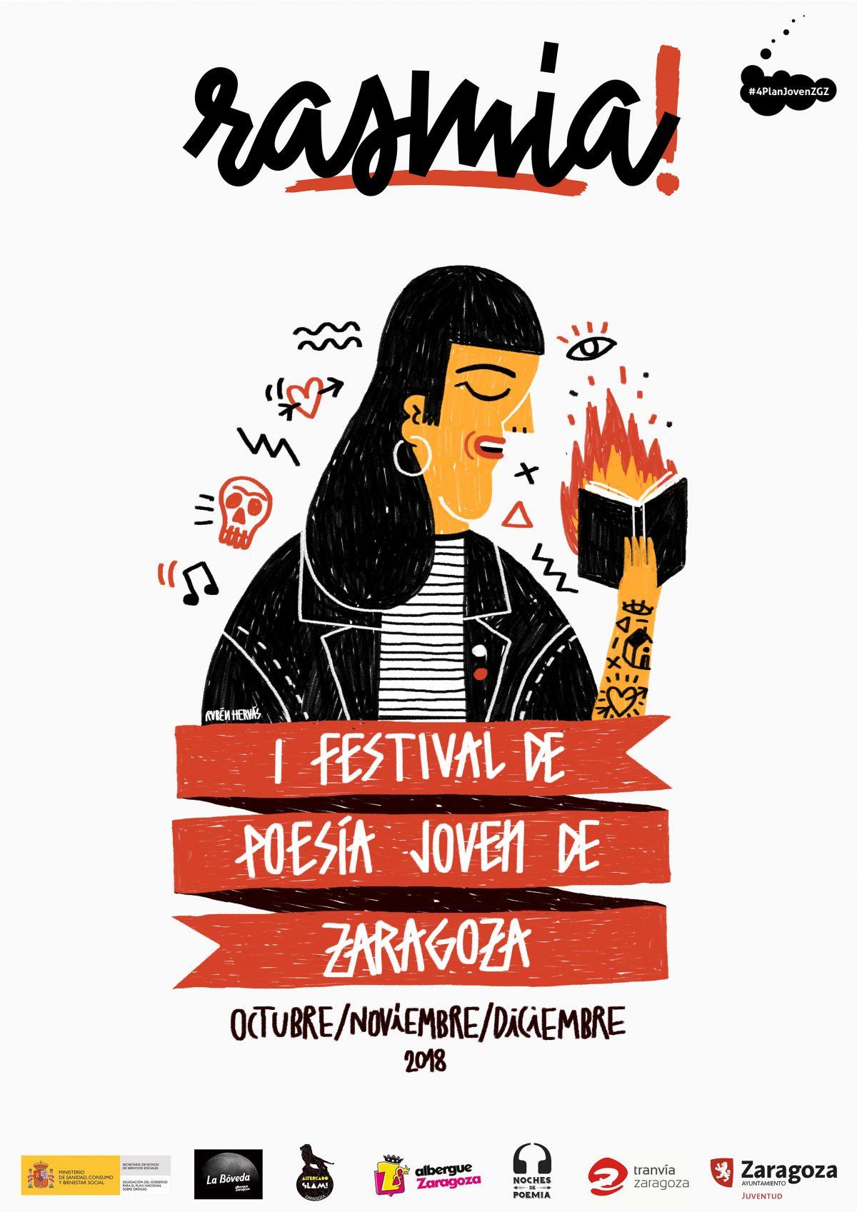Los jóvenes inundan de poesía las calles de Zaragoza con el festival Rasmia