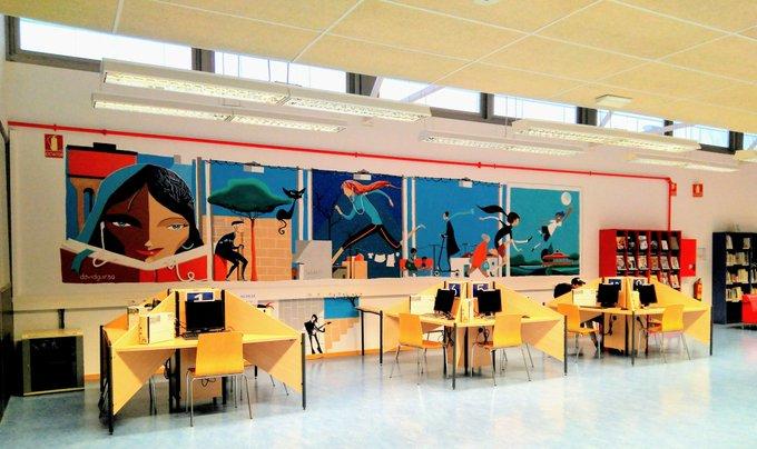 El mural de David Guirao en la biblioteca del barrio Oliver