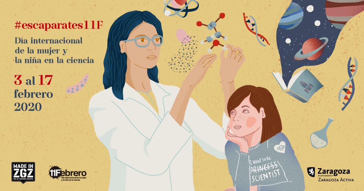 Escaparates 11F mujeres Ciencia en Zaragoza